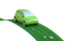 Green car on a leaf. Environmentally friendly car on a leaf with water droplets. Go Green- concept image royalty free illustration