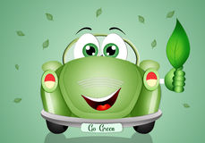 Green car with leaf for ecology transport Royalty Free Stock Photos