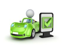 Green car and lightbox with a tick mark. Stock Photos