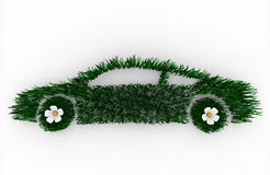 Green Car Made of Grass. Environmentally friendly car 3D render composed of blades of grass, symbolizing the green movement Royalty Free Stock Image