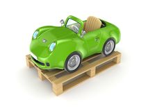 Green car on a pallet. Isolated on white background.3d rendered Stock Photo