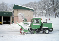 Snow plow car, removing the snow from street Stock Images
