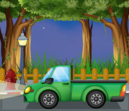 A green car at the street vector illustration