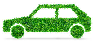 Green Car symbol from grass Stock Image