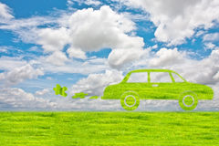Green car symbol from grass background, isolated on white. Stock Images