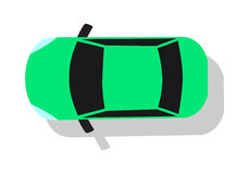 Green Car Top View Flat Design Vector Illustration Stock Photography