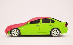 Green car under the silk, red tent. 3d illustration of a green car under the silk red tent Stock Photos