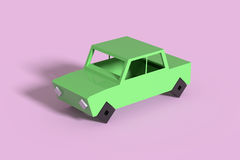 Green car on violet background Stock Photo