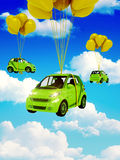 Green car with Yellow Balloons. Graph made in 3d Royalty Free Stock Photo