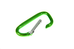 Green carabiner. On white background royalty free stock photography