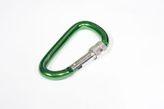 Green carabiner Royalty Free Stock Photo
