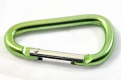 Green Carabiner Stock Photo