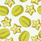 Green carambola seamless pattern Stock Photos