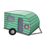 Green caravan icon in cartoon style isolated on white background.  Royalty Free Stock Photo