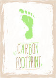 Green carbon footprint. Green hand drawn carbon footprint with hand written text with eco concept vector illustration