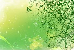 Green Card. With tree and butterfly Stock Images
