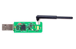 Bluetooth module isolated on white. Green card (chip) with a bluetooth antenna isolate on white Stock Image