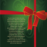 Green card for christmas. A beautiful green card with a red ribbon and text Stock Image