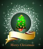 Green card with Christmas tree Stock Photo
