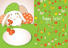 Green card with Easter eggs Royalty Free Stock Images