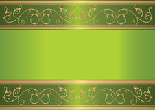 Green card with floral gold design Royalty Free Stock Photography