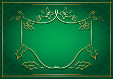 Green vector card with floral gold frame Royalty Free Stock Photo