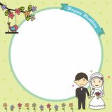 Blank card with muslim bride and groom vector illustration