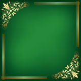 Green card with golden frame - vector Stock Photos