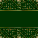 Green card with golden ornament Stock Images