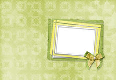 Green card for invitation or congratulation with frame Stock Image