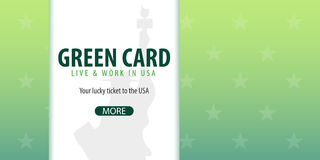 Green Card Lottery banner. Immigration and Visa to the USA. Royalty Free Stock Photography
