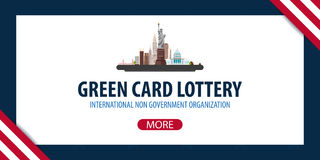 Green Card Lottery banner. Immigration and Visa to the USA. Stock Images