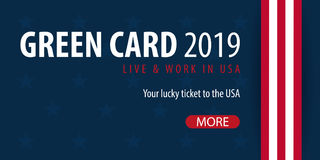 Green Card Lottery banner. Immigration and Visa to the USA. Stock Photos