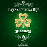 Green  card for Patricks day with big golden shamrock, vector Royalty Free Stock Photos