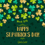 Green  card for Patricks day with golden shamrock, vector Stock Images