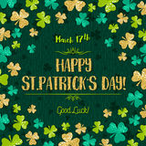 Green  card for Patricks day with golden shamrock, vector Royalty Free Stock Image