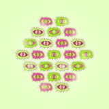 Green Card with Rhombus of Cartoon Eyes Stock Images