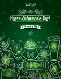 Green card for St. Patrick`s Day with  beer bottle, mug, horsesh Stock Photos