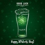 Green card for St. Patrick`s Day with  beer mug and shamrock, ve Stock Image