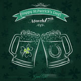 Green card for St. Patrick's Day with beer mug Stock Images