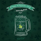 Green card for St. Patrick's Day with beer mug Stock Photography
