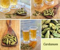 Green cardamom with green tea in glasses cup on the wooden desk Royalty Free Stock Image