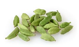 Green cardamom pods  on white Royalty Free Stock Images