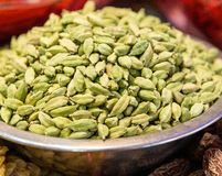 Green Cardamom seeds in a bowl Royalty Free Stock Image