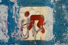 Road bicycle sport. Road bicycle sport old painting sign royalty free stock image