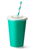 Green cardboard cup with a straw Royalty Free Stock Photo