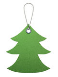 Green cardboard tag in the form of christmas tree. 3d. Stock Photos