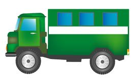 Green cargo car with box Stock Photo