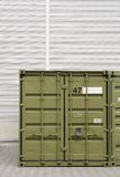 Green cargo container. Background for trading, transportation or storage Royalty Free Stock Photos