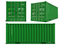 Green Cargo Container in 3D Isolated on White. Stock Photo